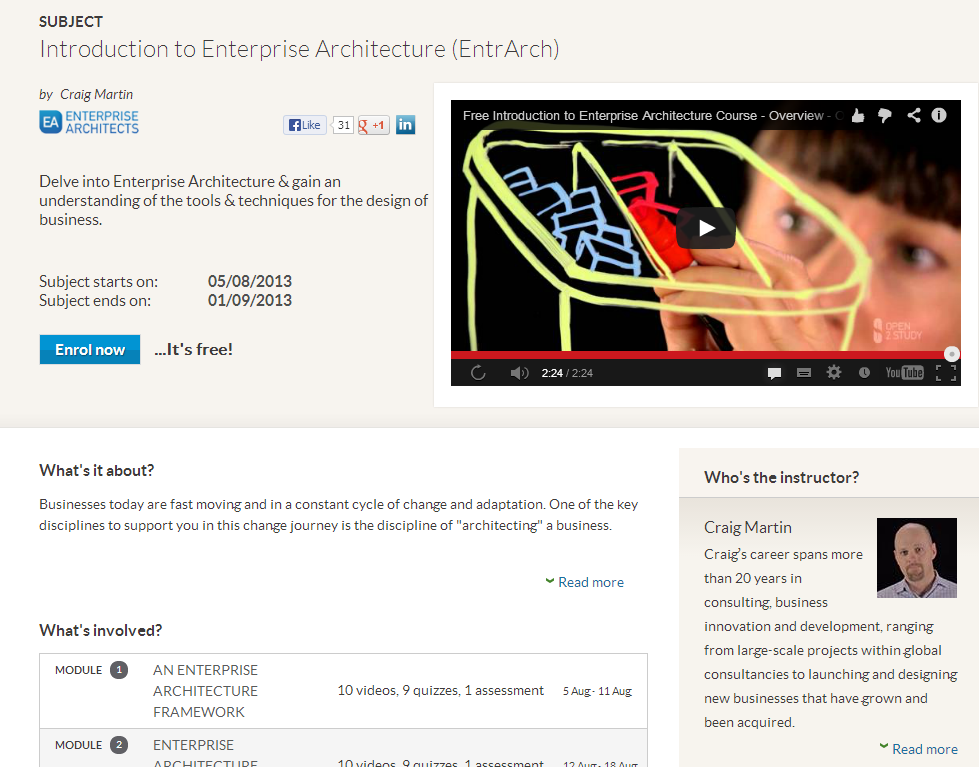 Free Online Enterprise Architecture Course